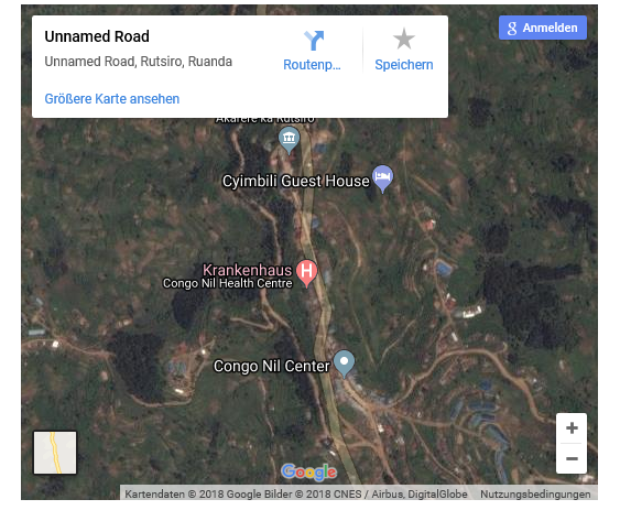 Satellite view in Google maps of Congo Nil in the Rutsiro district of Rwanda