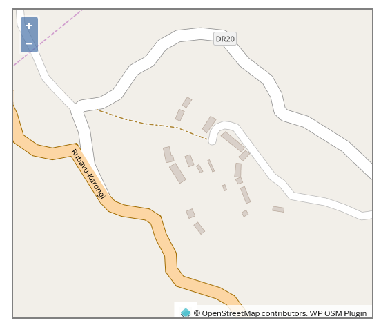OpenStreeMap view of Congo Nil in the Rutsiro district of Rwanda