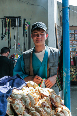 Young man selling bread in Dushanbe (2006)
