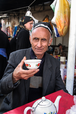 Taking a cup of tea in Tajikistan